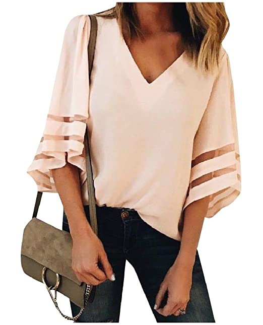 95196be4 Mfasica Womens Solid Mesh Stitch T-Shirts V-Neck Sexy Baggy Shirt Top AS1