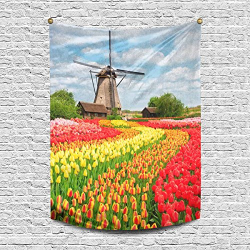 INTERESTPRINT Netherlands Countryside Dutch Scenery with Windmill and Tulips Cotton Linen Tapestry Wall Art Home Decor, Tapestries Wall Hanging Art Sets, 60W X 80L Inch ()