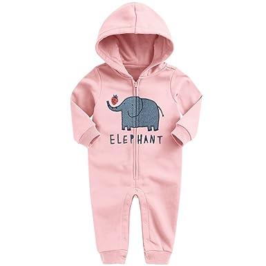 Strampler mit Reißverschluß Baby Unisex Elefant Schlafanzug Anzug Overall