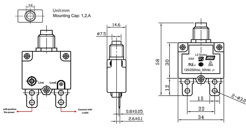 Greenwayyd 5A 10A 15A 20A 30A Disjoncteurs /à r/éarmement manuel Bornes /à connexion rapide DC50V AC125-250V lot de 5
