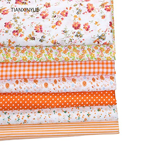 TACOLI - Sewing Fabric Bundles - Quilt Top Fabric - 7pcs 50cmx50cm Orange 100% Cotton Quilts Fabric For DIY Sewing Patchwork Kids Bedding Bags Baby Cloth Fabric