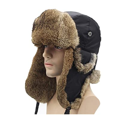 Amazon.com  Bomber Trapper Hats Men Winter Warm Rabbit Fur Hat Rex Snow Caps  Ear Flap Caps Russian  Clothing ec1959dfcac