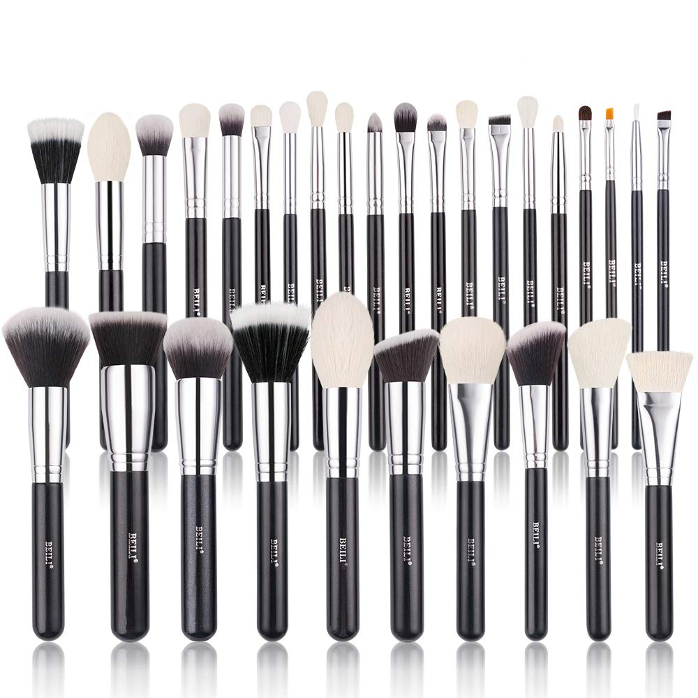 Amazon Com Professional Makeup Brushes Set 15 Piece Makeup Brushes Kit With Wood Handle For Foundation Powder Concealer Luxury Natural Bristles Goat Hairs And Soft Synthetic Hairs Black And Silver Beauty