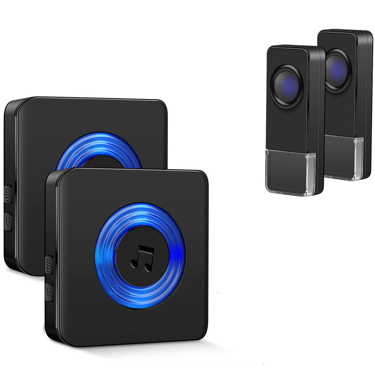 Wireless Doorbell Kit for Home Coolqiya Door Bell Chime with 2 Waterproof Transmitters and 2 Plug-in Receivers