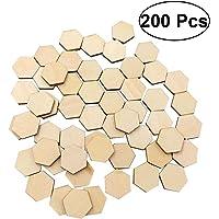 SALIFTY 200 piezas de madera de haya hexagonal