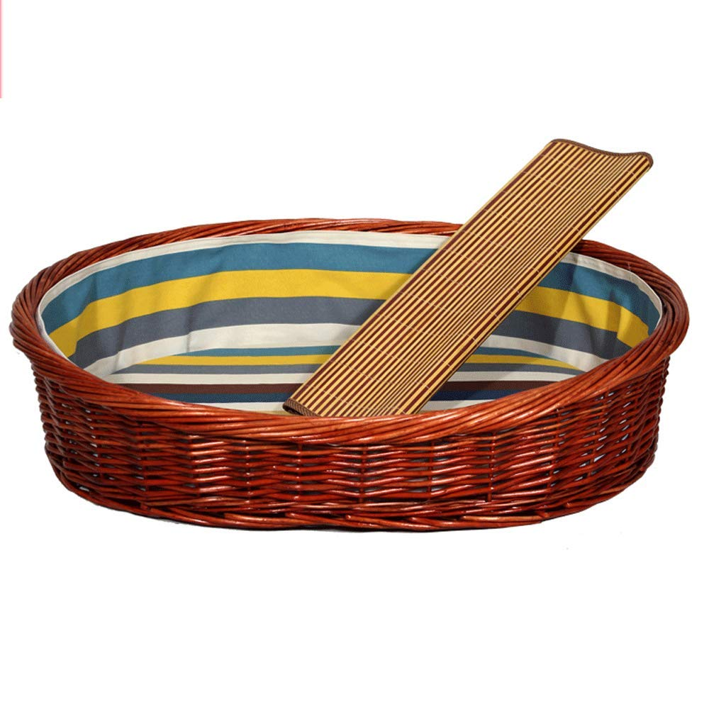 100X73CM Removable And Washable Rattan Kennel Bold Rattan Nest Teddy golden Hair Medium-sized Dog Pet Nest Wicker Cat Litter Suitable For Both Summer and Winter (Size   100X73CM)