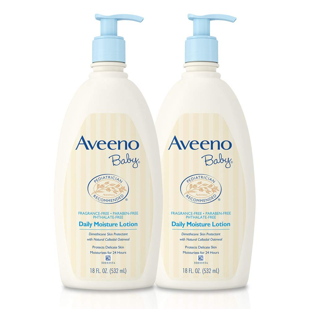 Aveeno Baby Daily Moisture Lotion with Oatmeal & Dimethicone, Fragrance-Free, 18 fl. oz, Twin Pack by Aveeno Baby