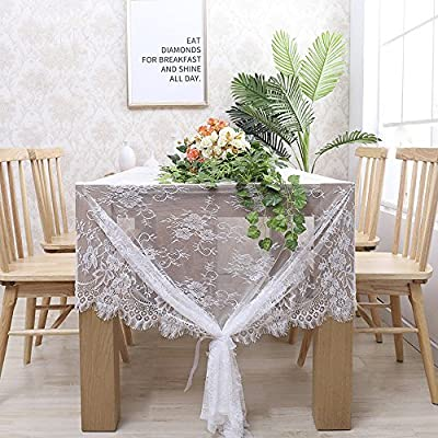 B-COOL 60 X120 Inch Classic White Wedding Lace Tablecloth Lace Tablecloth Overlay Vintage Embroidered Lace Overlay for Rustic Wedding Reception Decor Spring Summer Outdoor Party - ❤High Grade Touch: Made of high quality lace, soft touch, comfortable and durable. ❤Just the Right Size: Width 60 inch x length 120 inches (10 feet). Includes 1 pieces. ❤Sophisticated Design: The intricately designed floral openwork is eye-catching with lovely fringe details that will serve as a timeless unique decoration for your wedding table. - tablecloths, kitchen-dining-room-table-linens, kitchen-dining-room - 61T2e8CUZML. SS400  -