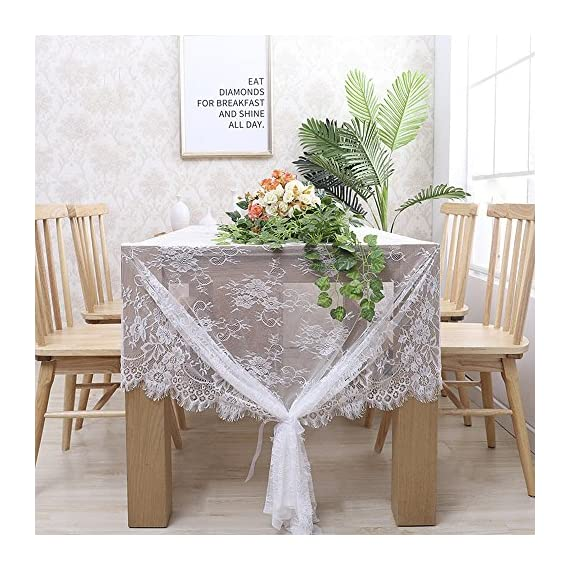 """B-COOL 60"""" X120"""" Classic White Wedding Lace Tablecloth Lace Tablecloth Overlay Vintage Embroidered Lace Overlay for Rustic Wedding Vintage Reception Decor Spring Summer Outdoor Party Boho Party Decor - Top Material: soft touch High Quality LACE both Comfortable and Durable. Beautiful Design: flower intricate lace design vintage embroidered lace fabric adds extra elegance to your wedding Chic£¦Romantic: vintage white LACE Table Cloth, classic and pretty, best choice for Rustic wedding, romantic candlelight dinner, bridal shower, baby shower, birthday party or everyday use! - tablecloths, kitchen-dining-room-table-linens, kitchen-dining-room - 61T2e8CUZML. SS570  -"""