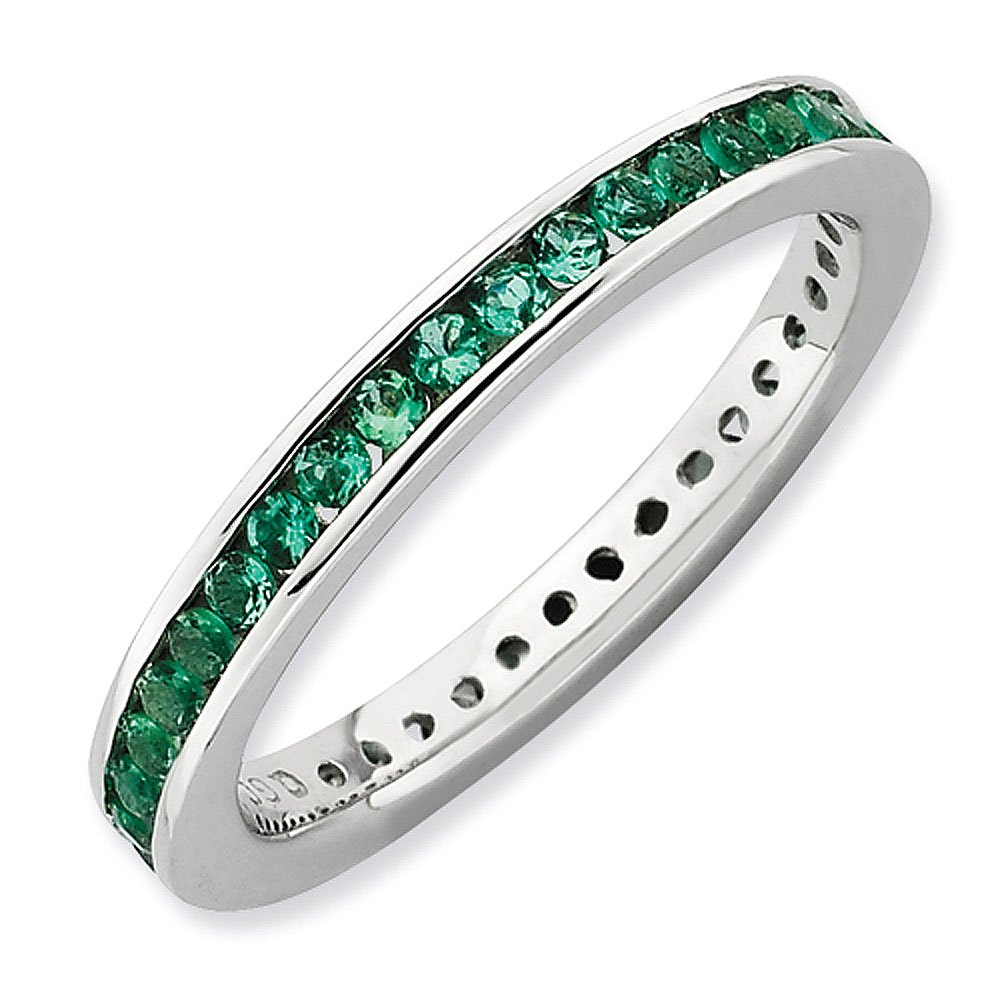 Sterling Silver Stackable Expressions Channel Set Created Emerald Eternity Band - Size 10
