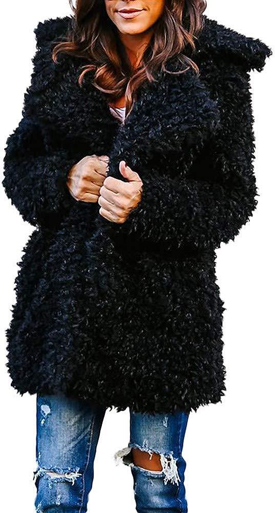 KaloryWee Sale Clearance Womens Ladies Warm Wool Coat Jacket Lapel Winter Outerwear