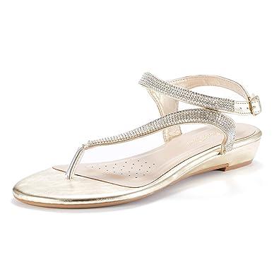 c5fb9e04e LE MIU SERPENT Women Rhinestones Strap Gladiator Flat Sandals