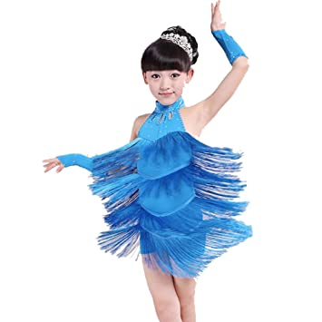 3229f3846 Hougood Latin Dresses for Girls Kids Sleeveless Tassel Diamond Latin Dance  Dress Salsa Samba Rumba Tango Dance Costumes Dance Skirt: Amazon.co.uk:  Sports & ...