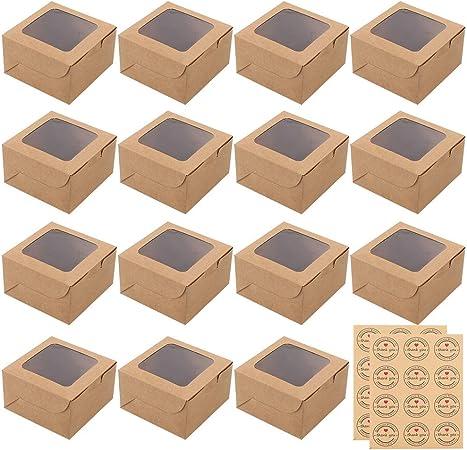 Pveath Mini cajas de pasteles,24 piezas caja de papel kraft con ventana y 24 piezas adhesivas,cajas de papel kraft para alimentos,galletas,pan,caramelos,rebanadas de pastel y postres: Amazon.es: Hogar