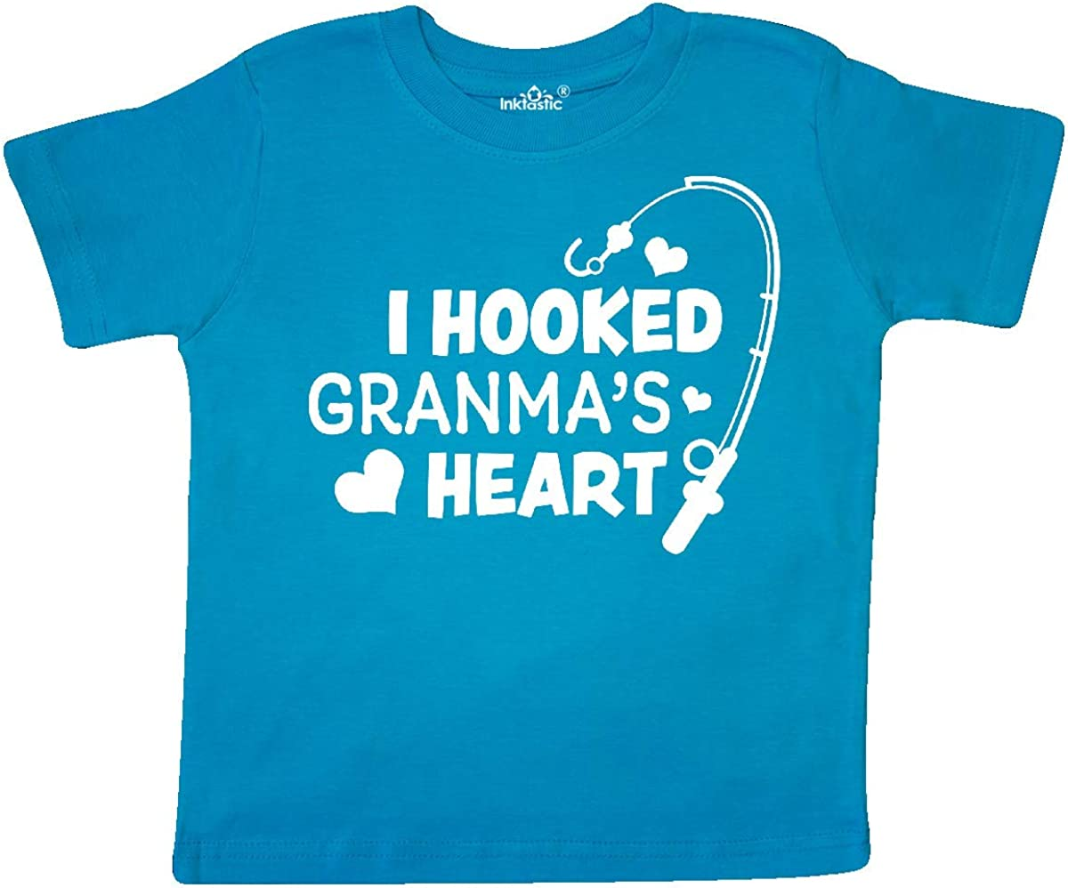 inktastic I Hooked Granmas Heart with Fishing Rod Toddler T-Shirt