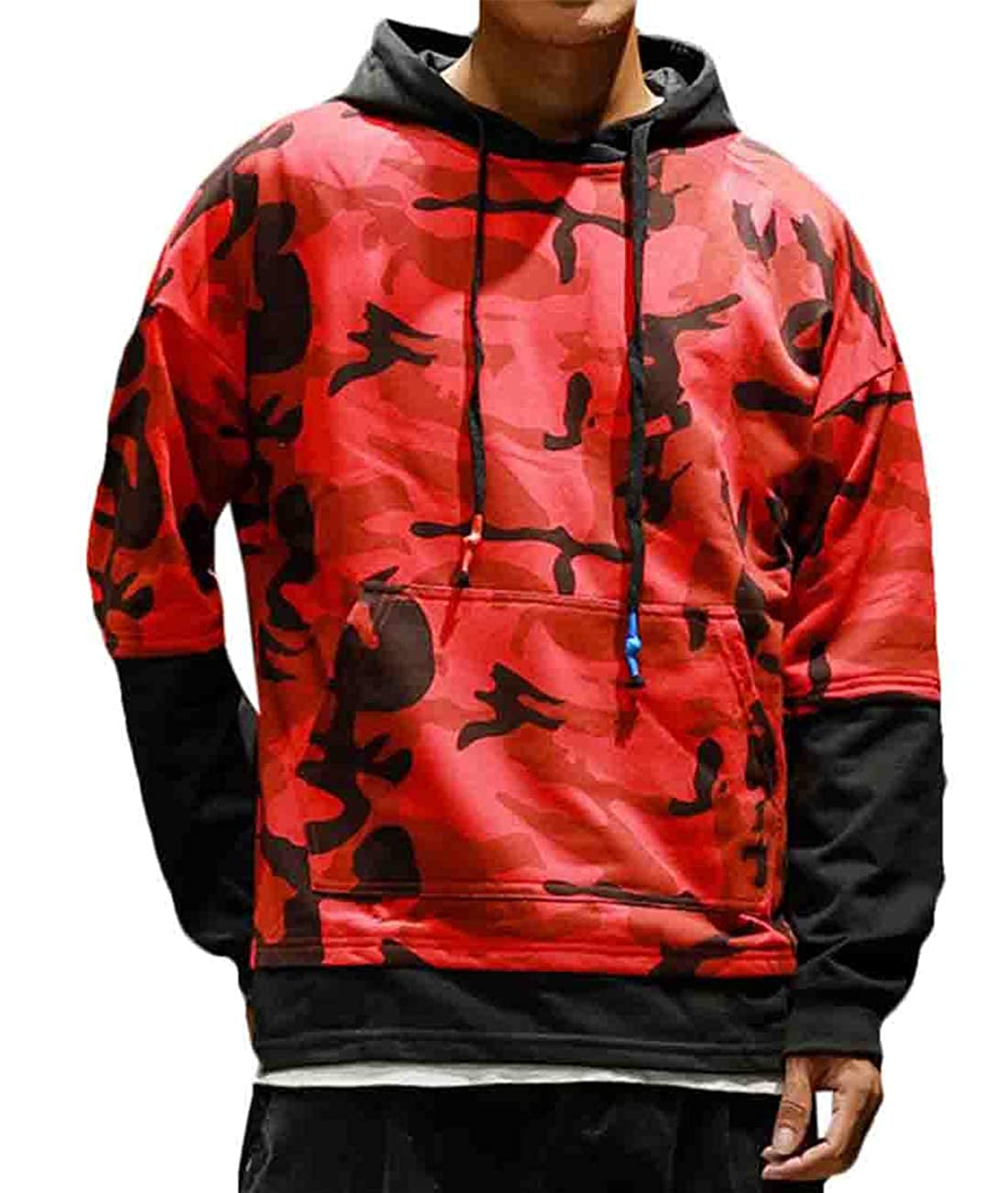 Hilization Men Fashion Autumn Hip-hop Patchwork Hooded Camouflage Kangaroo Pocket Sweatshirt Hoodie Pullover