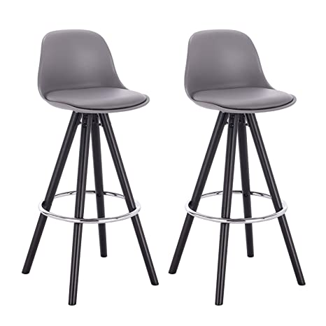 optimal aus Kunstleder Holzgestell WOLTU® Küchenstuhl 2 Komfort Set Design Barhocker Schwarze 2er 2 LehneFußstütze x Barstuhl mit BH122gr Stuhl 08kwOPnX
