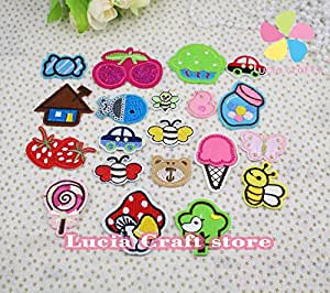 24pcs random 1.6-5.2cm Candy/Cherry/Bee/Small animal Embroidered Patch