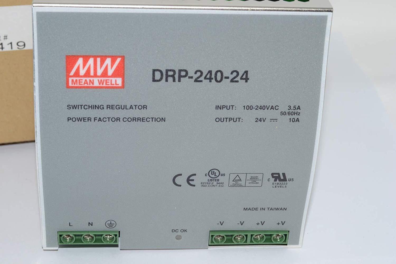 Fuente de alimentaci/ón AC 240W 24V 10A Carril-Din Meanwell DRP-240-24