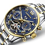 WhatsWatch Carnival Men's Watch Automatic Mechanical Tourbillon Stainless Stell Date Blue Dial Skeleton Watch