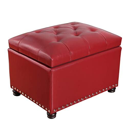 Adeco High End Red Classy Bonded PU-Leather Tufted Accents Rectangular Storage Bench Ottoman Footstool, Red