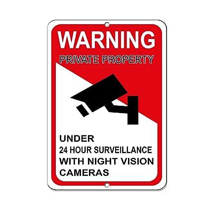 OneMtoss Señal de Advertencia de Propiedad privada para Cámaras de vigilancia de Menos DE 24 Horas