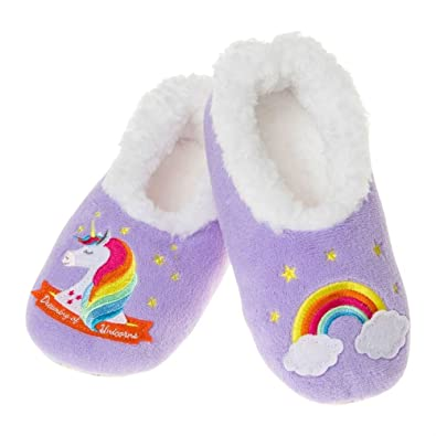 1bd0d0a858c5 Girls Unicorn Fleece Lilac Rainbow Slippers