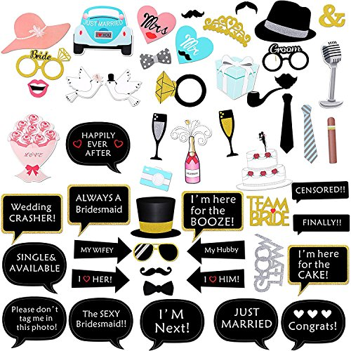 Homdar Direct 52 Pcs Wedding Photo Booth Props Kit Halloween Birthday Party Accessory for Atmospheric and Funny (52 weeding) -