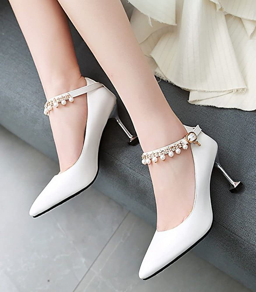 Aisun Womens Beaded Rhinestone Buckled Dressy High Stiletto Heel Pointed Toe Pumps Shoes with Ankle Strap