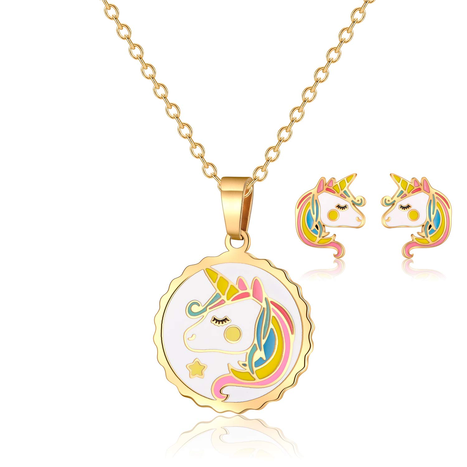VINJEWELRY Kids Round Colorful Unicorn Pendant Necklace with Gold Chain and Girls Little Horse Earrings Studs Jewelry Set by VINJEWELRY