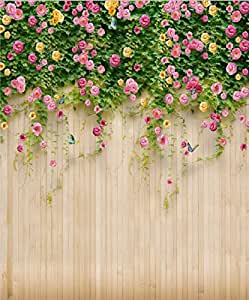 Amazon Com 8x10 Ft Spring Flower Wooden Wall Backdrop Photography