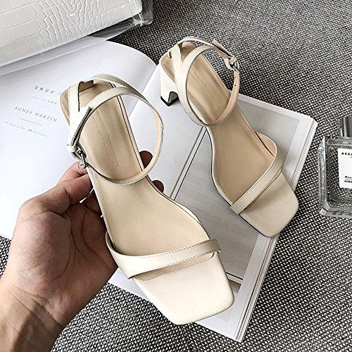 Grueso EU36 CAICOLOR Color 5 de Tamaño Abierto Altos pie con Blanco Hadas Tacones Slipper con UK3 Zapatos Verano Cuadrado CN35 Blanco Simple del Dedo Hc8wq