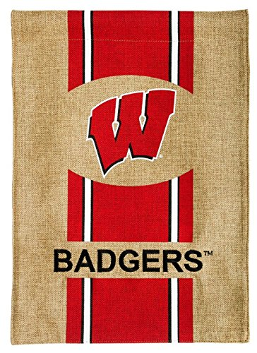 Evergreen Enterprises Spring - Team Sports America Flag, Burlap, Garden Size, University of Wisconsin
