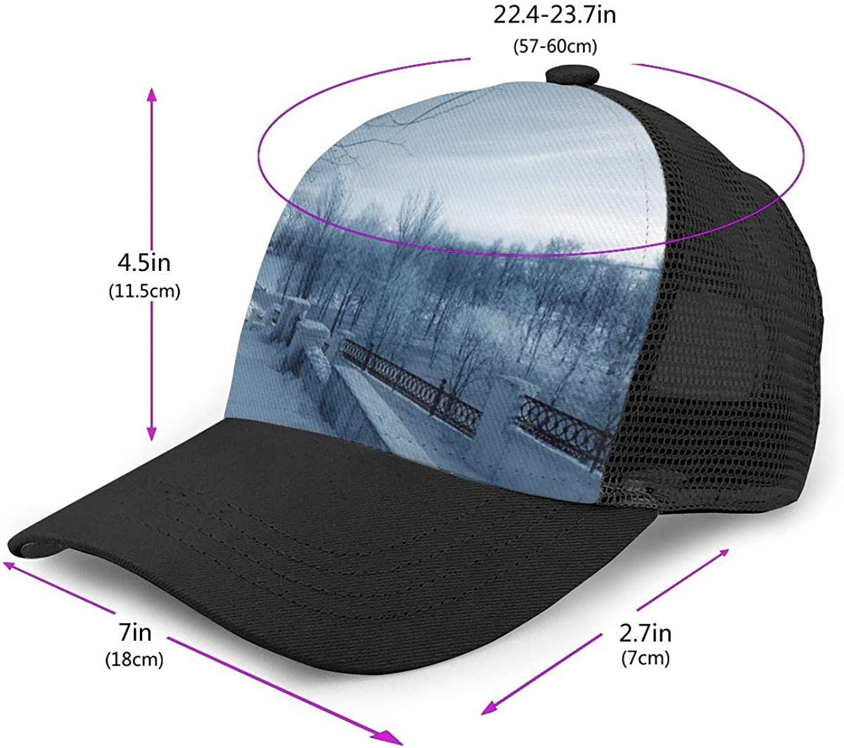 Fitted Dad Hat for Unisex Mens Winter Nature in Russia Kostroma City Flat Baseball Cap