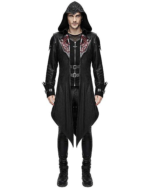 f60c05770 Devil Fashion Steampunk Gothic Swallowtail Coats Punk Men Jackets Faux  Leather Autumn Winter Long Hooded Coats Overcoat Assassin Creed:  Amazon.co.uk: ...