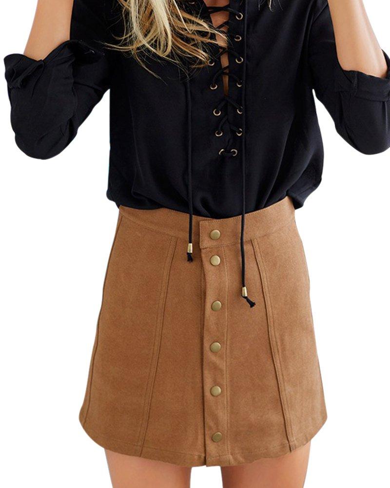Mujer Falda De Ante Imitación Faldas Delgado Midi Cortas Minifalda