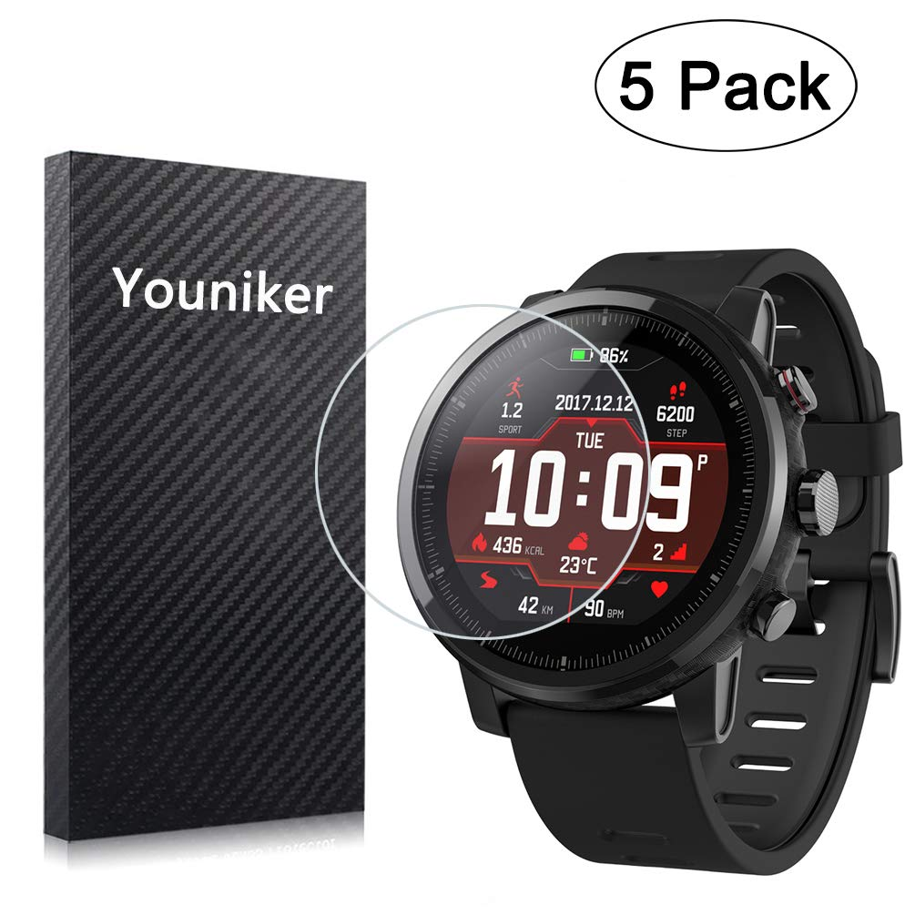 Youniker 5 Unidades para Amazfit Stratos Protector de Pantalla para Huami Amazfit Stratos 2 Smartwatch Protector de Pantalla de lámina de Cristal ...