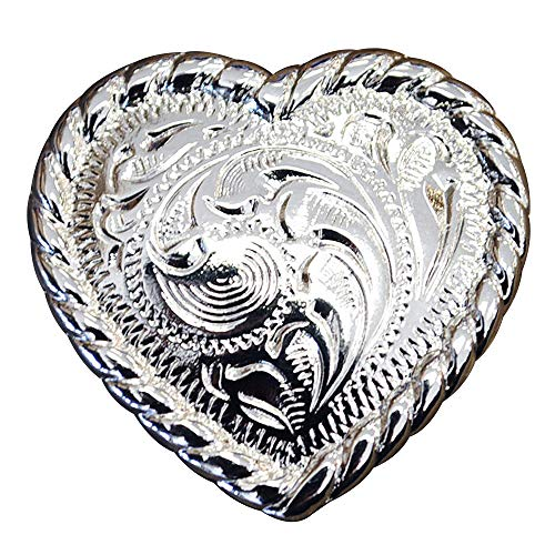 - Set of 2 Heart Shaped w/Rope Edge Concho Headstall Saddle TACK Bling Cowgirl