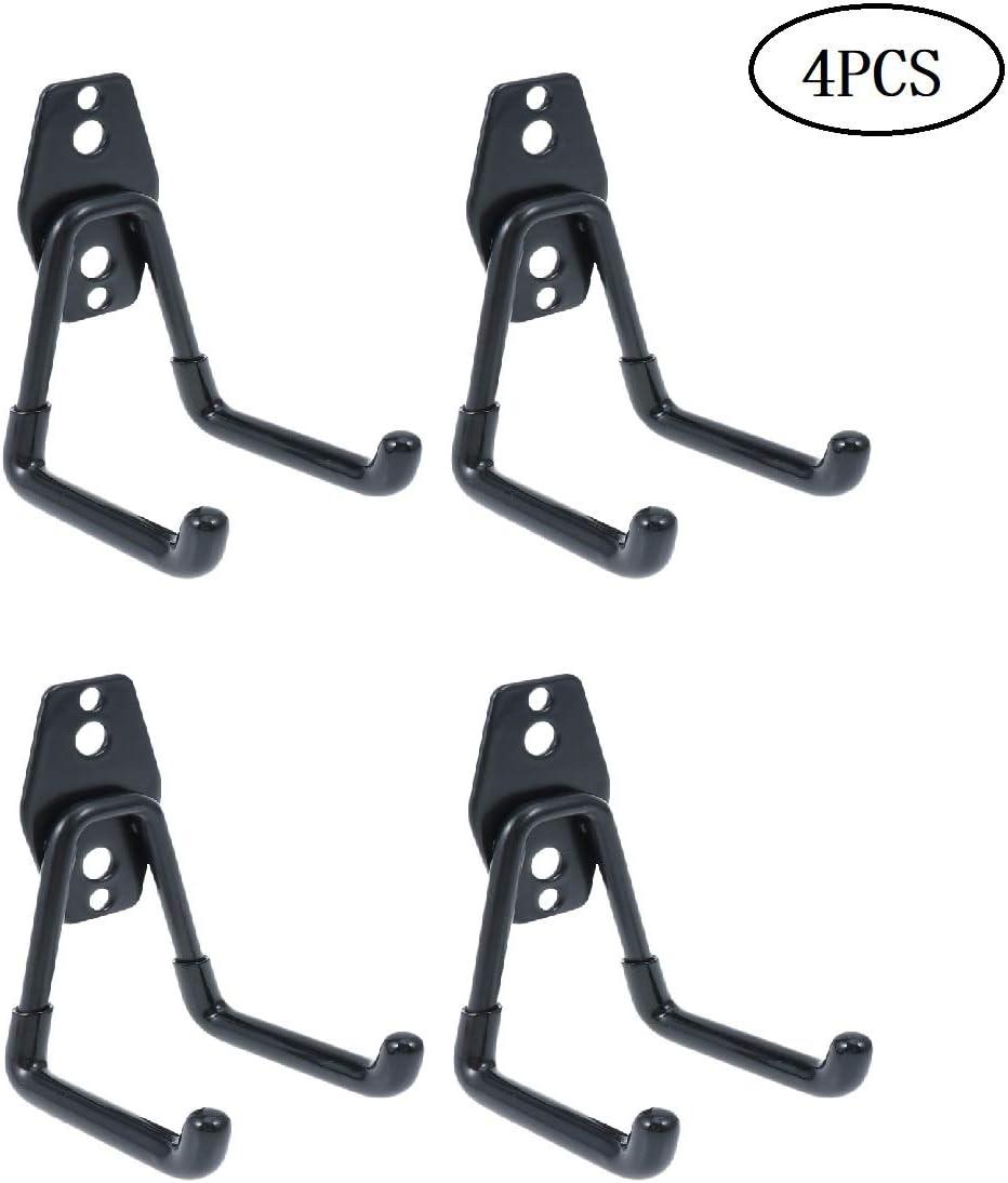 DOITOOL 4 piezas Gancho para Colgador de Garaje dobles Ganchos de almacenamiento de garaje Gancho de Bicicleta de Pared para organizar herramientas,escaleras,bicicletas (negro,11 x 7 x 1 cm): Amazon.es: Bricolaje y herramientas