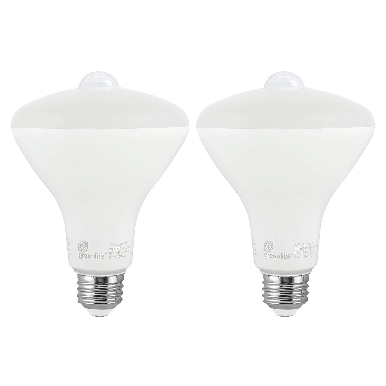LED BR30 8W Motion Sensor Light Bulb, 3000K Bright White, 65W Equivalent, 650 Lumens, Indoor/Outdoor, E26 Medium Base, 120V, Energy Star, (2 Pack)