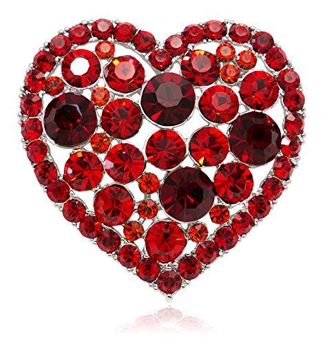 Akianna Swarovski Element Crystals Valentine Heart Pin Brooch Red