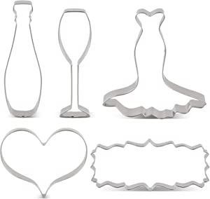 LILIAO Wedding Cookie Cutter Set for Anniversary/Bridal/Engagement - 5 Piece - Heart, Wedding Dress, Plaque, Champagne and Champagne Glass Fondant Cutters - Stainless Steel