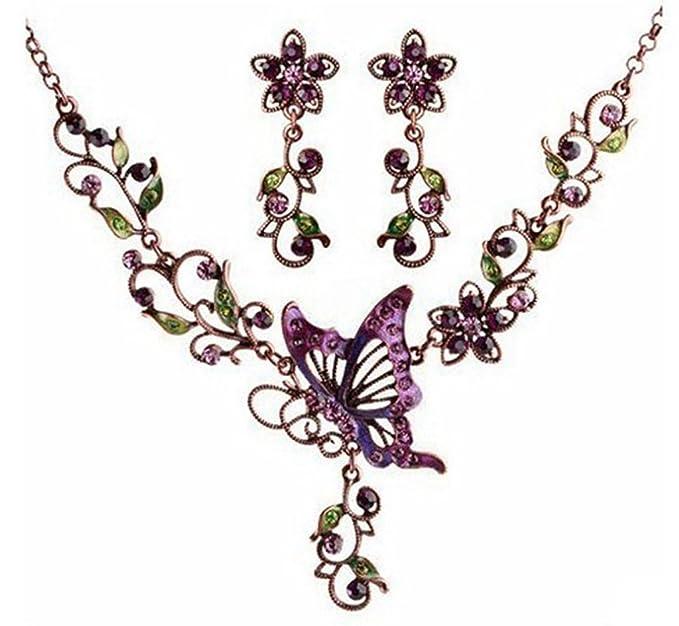 Femicuty Fashion Womens Retro Purple Butterflies Elegant Style Necklace Earring Sets
