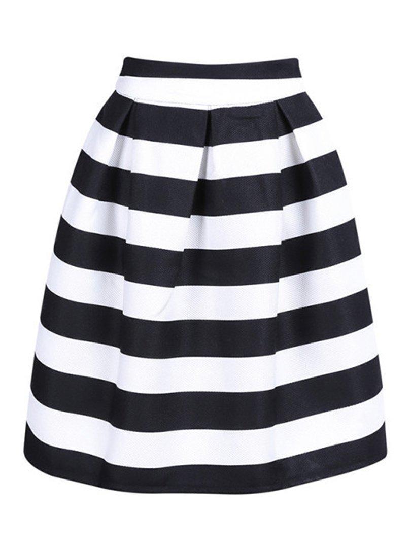 Choies Women's Black and White Stripe High Waist A-line Knee Length Skirt M