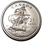 Canada 2004 First Settlement 25 cents Nice UNC from roll - BU Canadian Quarter