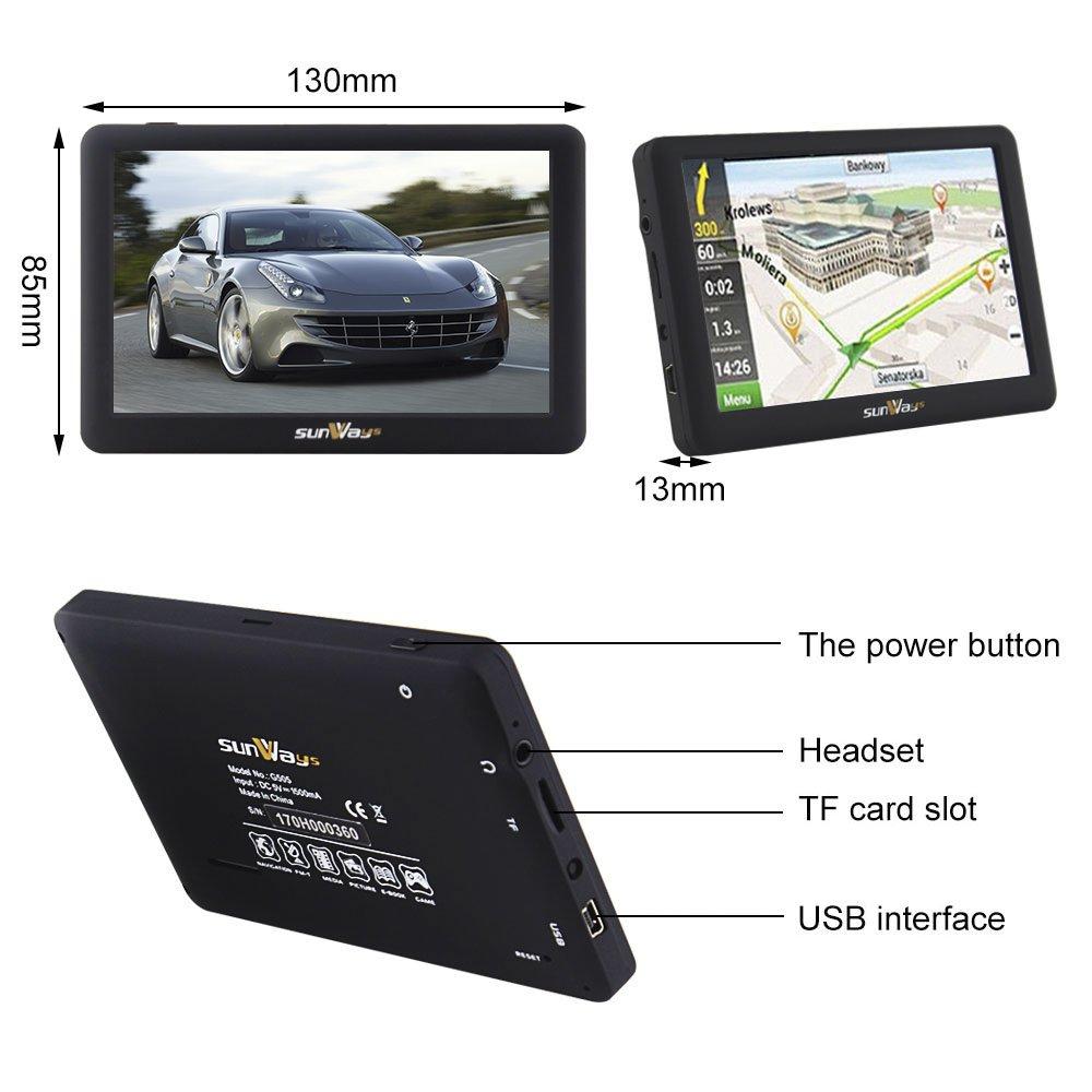 sunways Coche GPS 5 Pulgadas de Pantalla táctil capacitiva de 8 GB con Sistema Sat Nav de navegación Incluyen Coche navegación camión Navegación UE Últimas ...