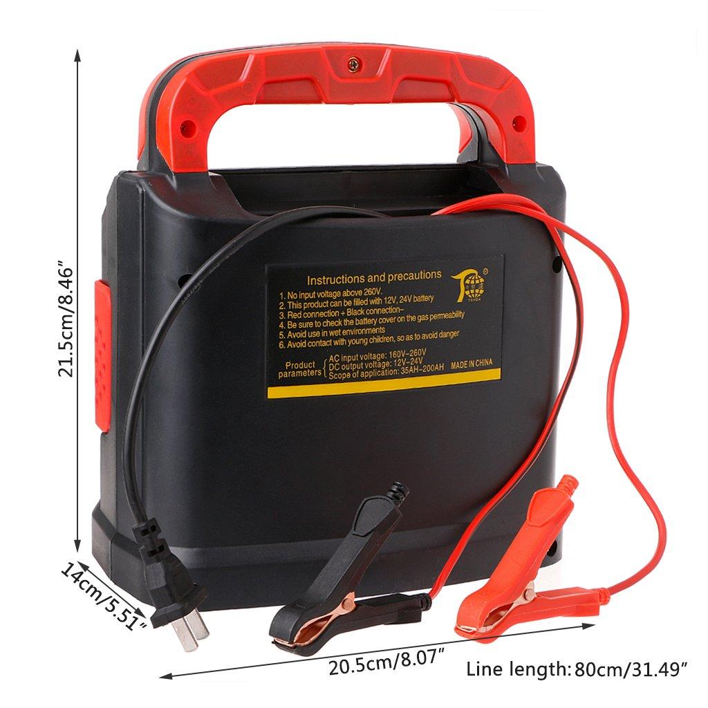 WEISHAZI 350W 14A Auto Plus Regolazione Batteria LCD Caricabatteria 12V-24V Auto Jump Starter Portatile