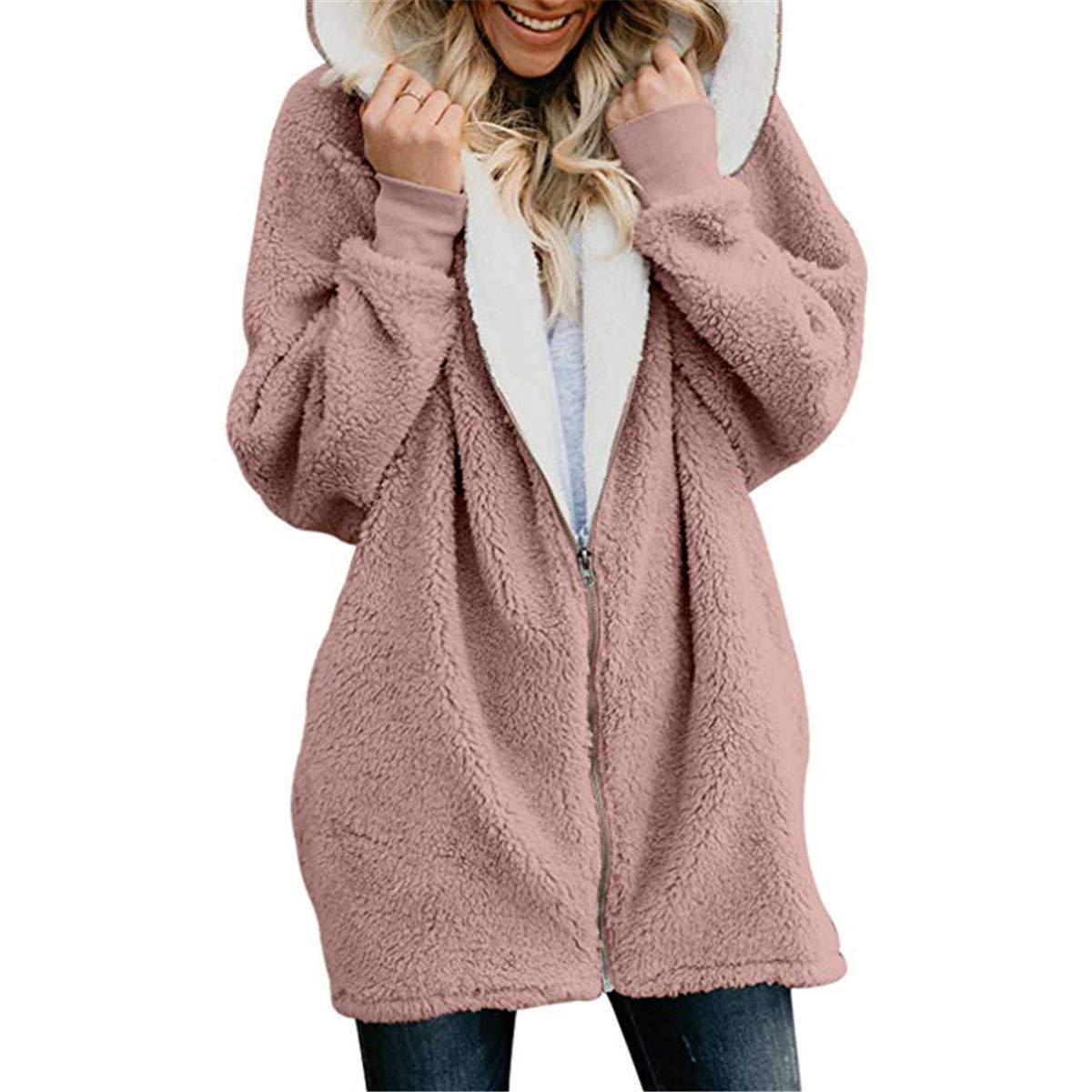 Womens Oversized Full Zip Up Hoodie Fleece Jacket Pockets Open Front Cardigan