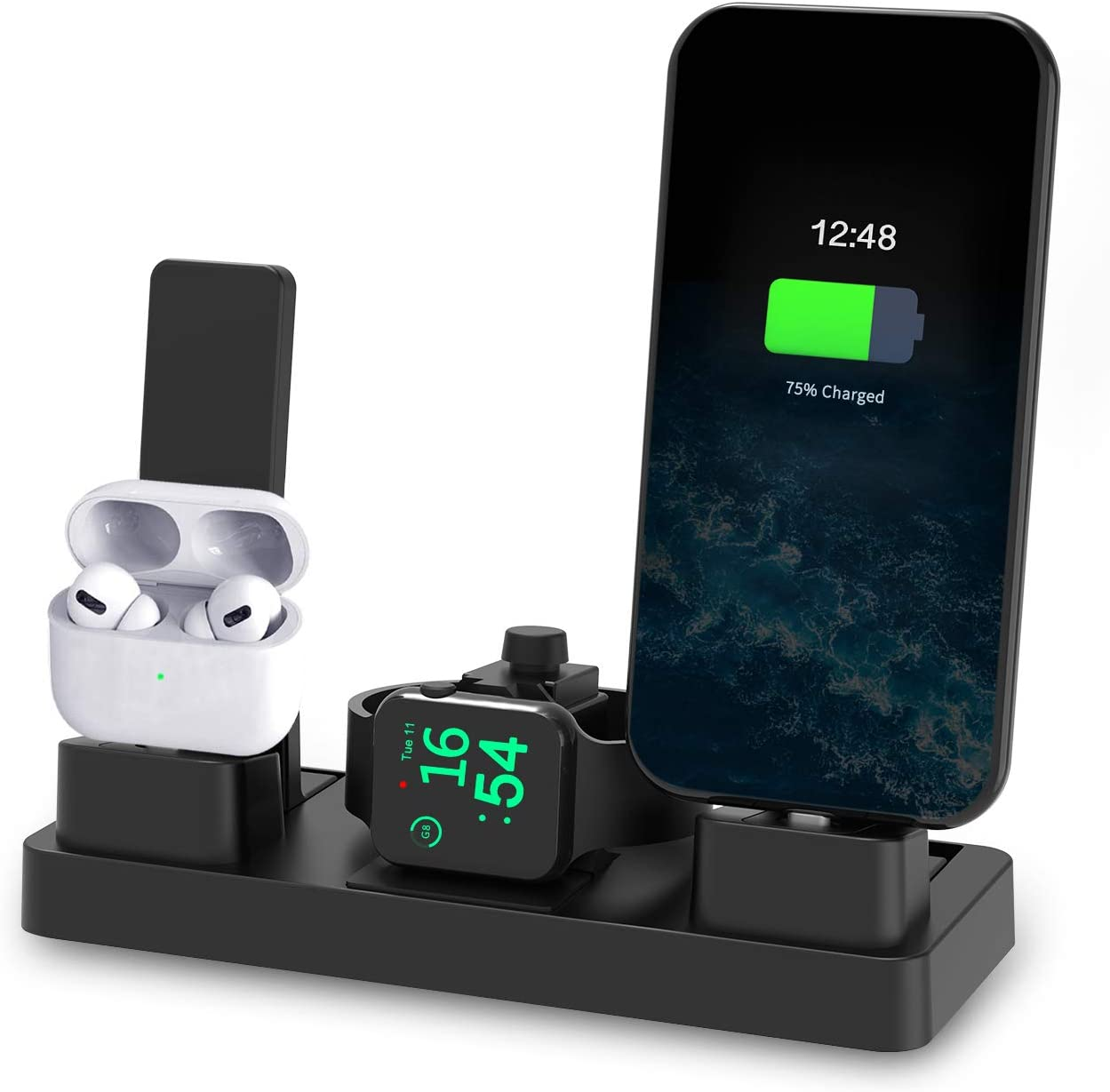 Undassenk iPhone and Apple Watch Charging Station Charger Dock, 3 in 1 Charging Stand for Apple Products iWatch Series 1~6, AirPods Series and iPhone 6~12 (Original Charger and Cables Required)