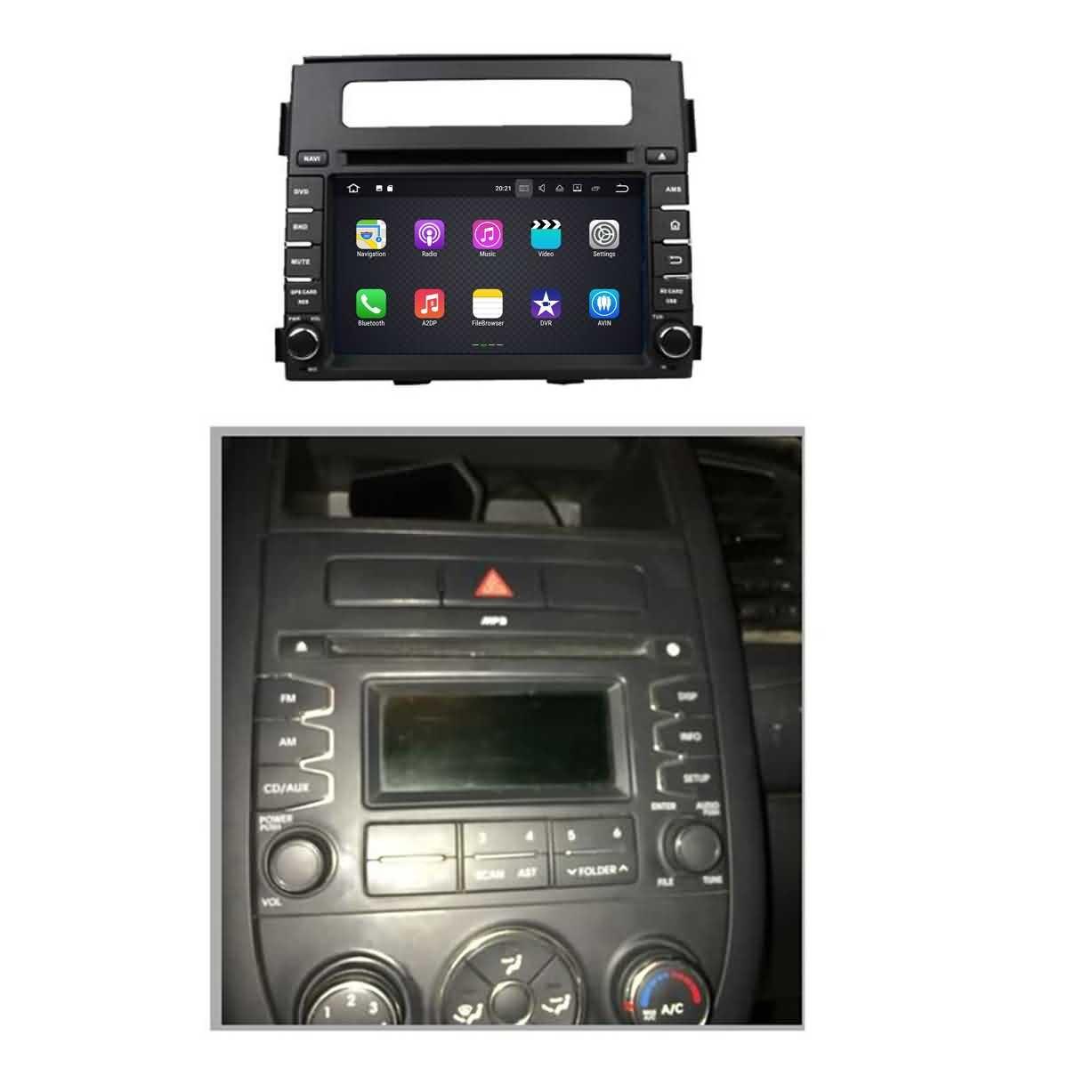 2 Din 6.2 pouces Android 7.1 stéréo de voiture pour Kia Soul 2011 2012 2013,DAB+ radio 800x480 écran tactile capacitif avec Quad Core Cortex A9 1.6G CPU 16G flash et 2G de RAM DDR3 GPS Navi Radio Lecteur